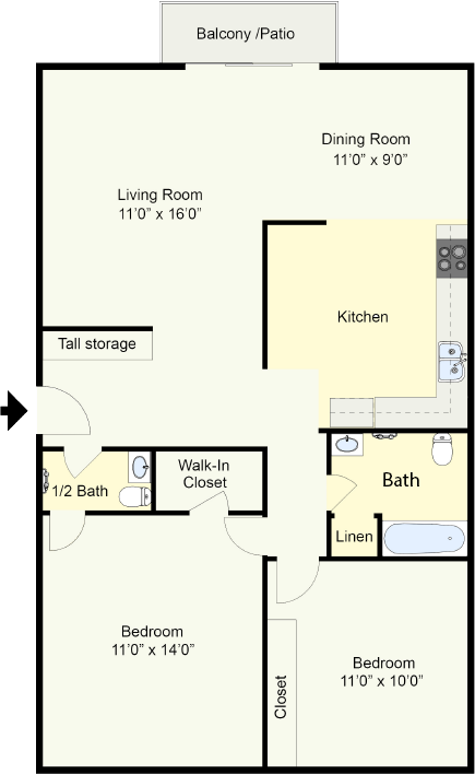 Bryant - 2 Bedroom 1.5 Bath
